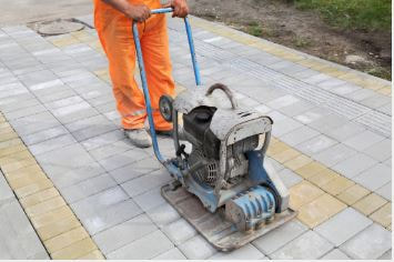 stamping concrete patio finisher