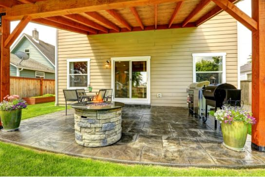 install new stamped patio concrete